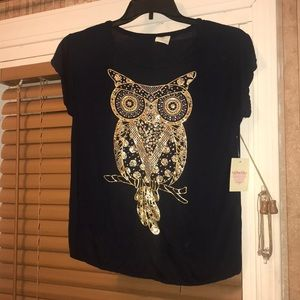 Navy Top with Gold Foil Owl Design